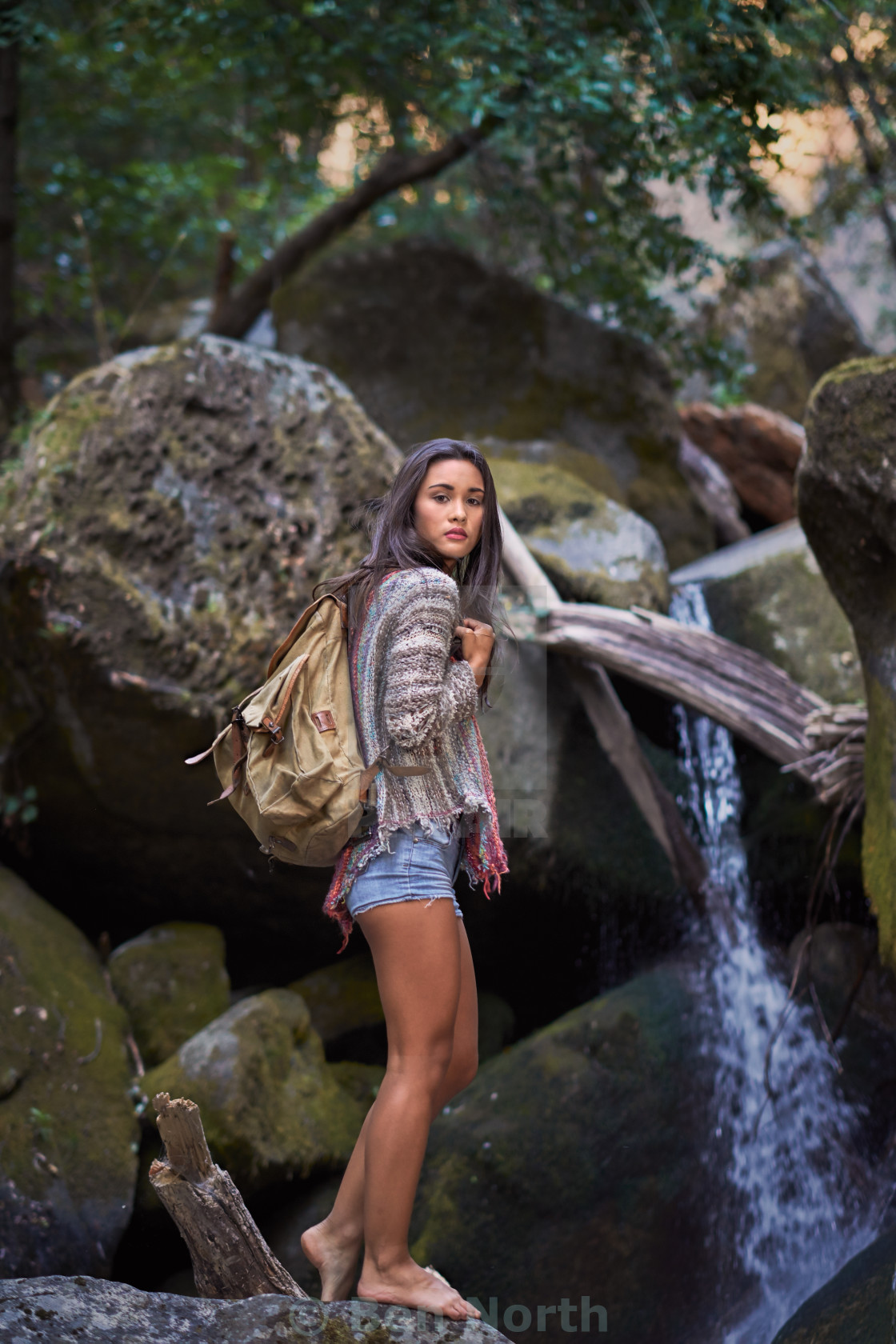 """""""Young Backpacker by a Waterfall"""" stock image"""