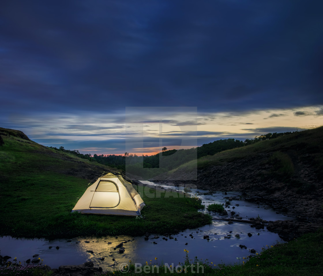 """""""Campsite By a Stream in the Evening"""" stock image"""