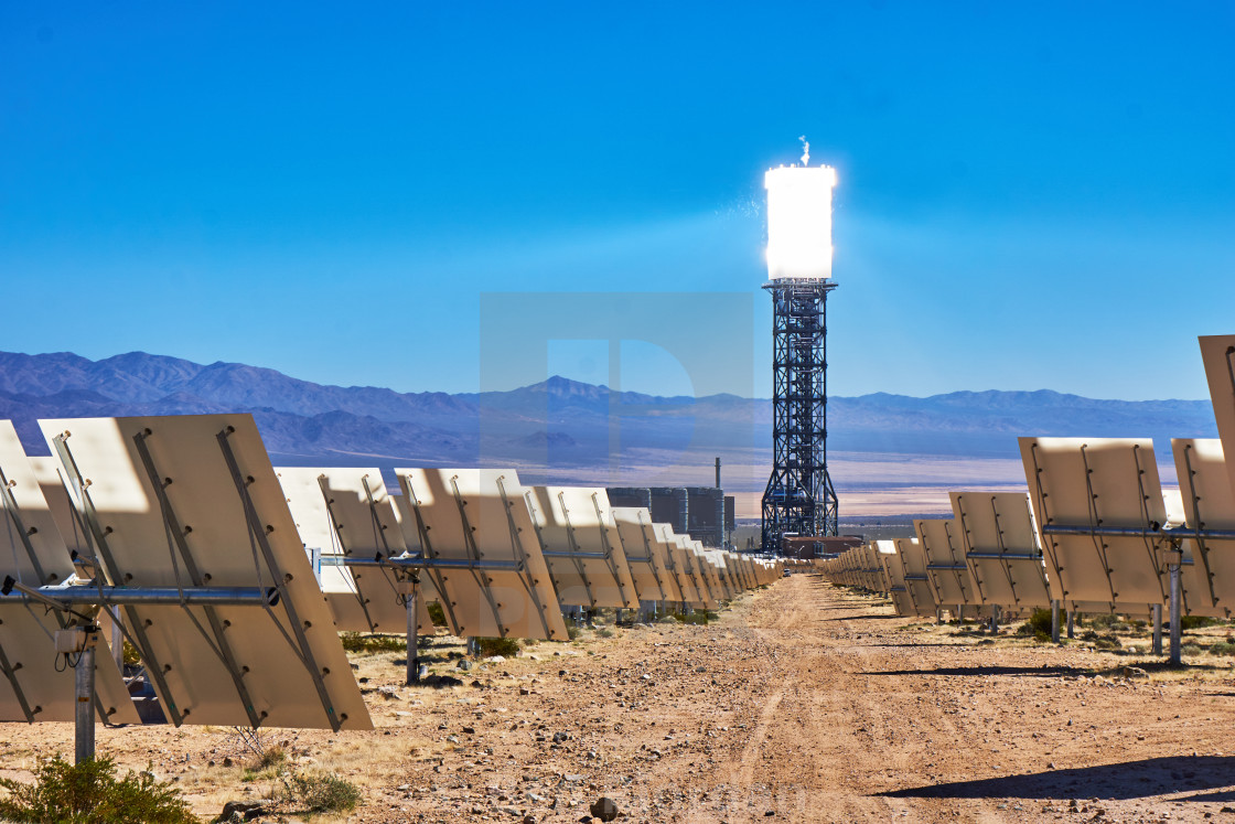"""""""Solar Mirrors and Solar Thermal Tower at Ivanpah Station"""" stock image"""