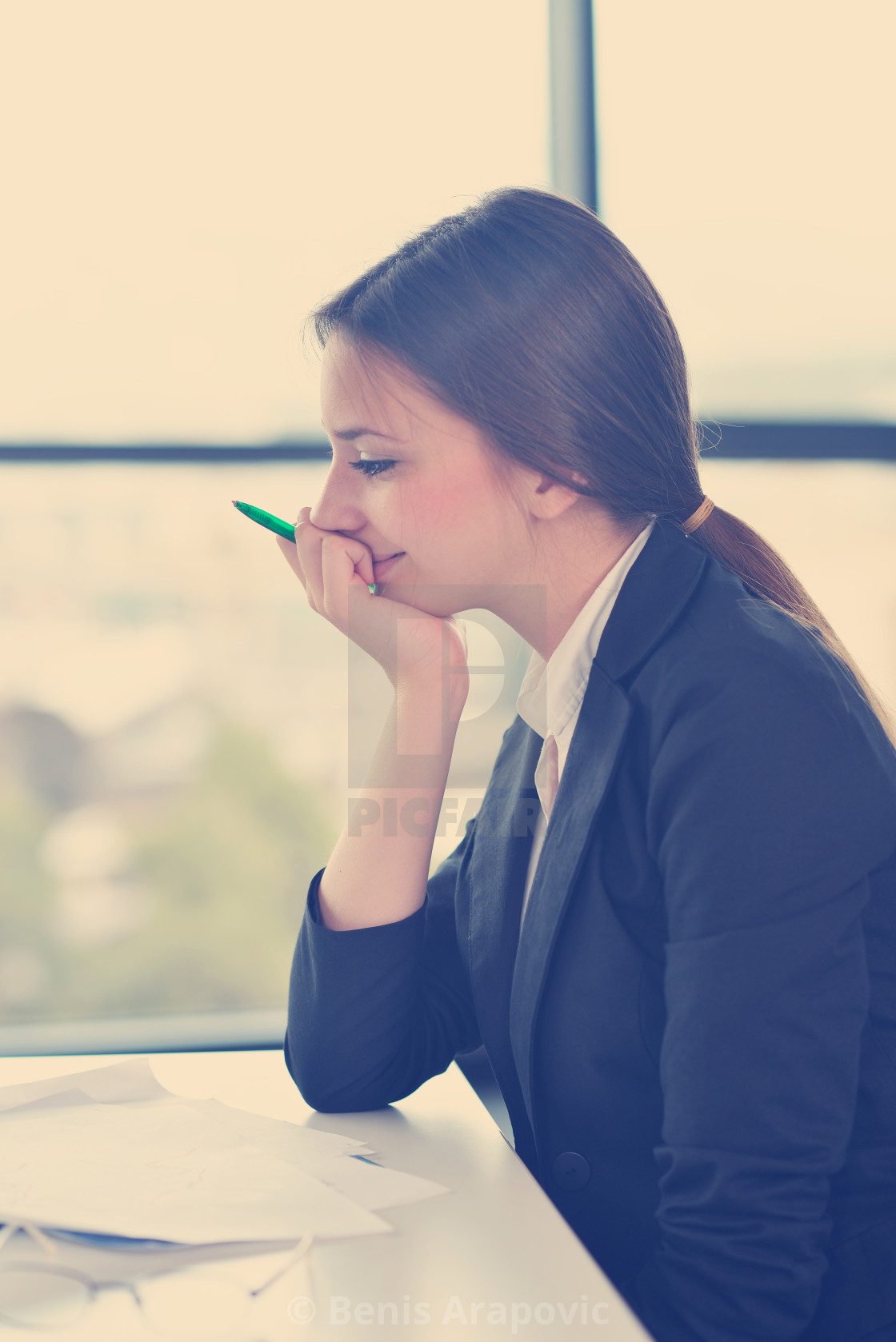"""business woman at office"" stock image"
