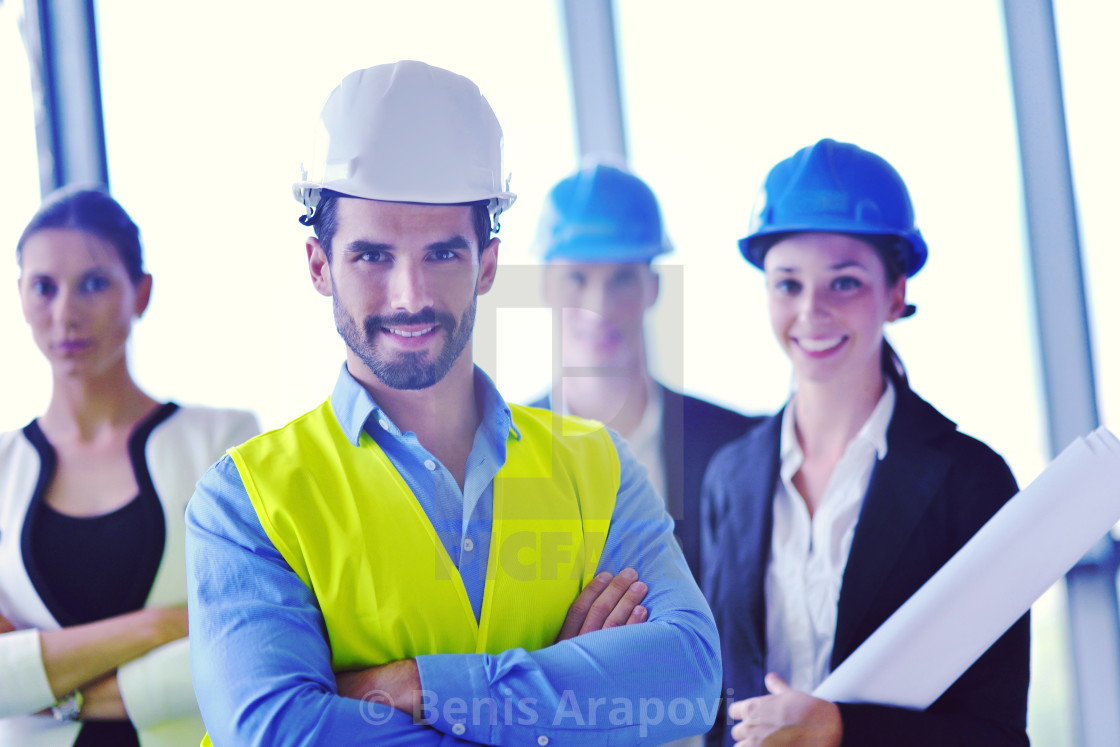 """business people and construction engineers on meeting"" stock image"