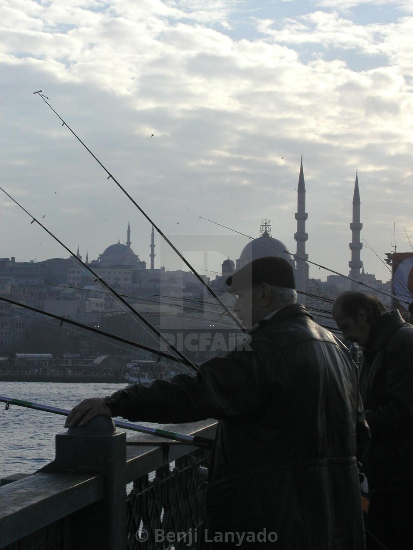 """Fishing on Galata Bridge"" stock image"
