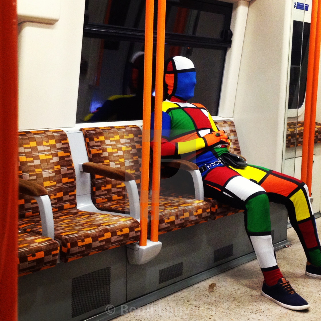 """Man on Tube"" stock image"