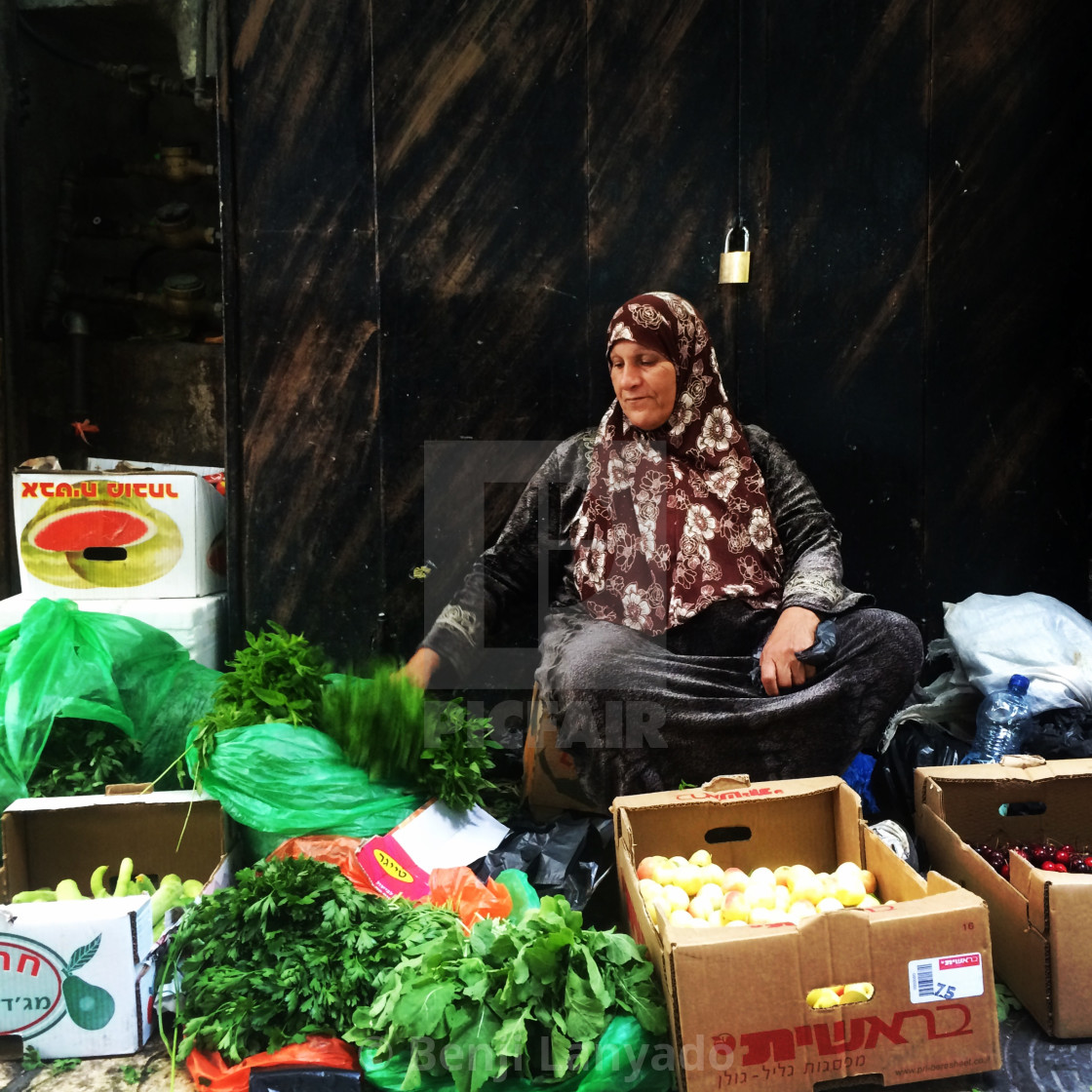 """""""Selling vegetable in the Muslim Quarter"""" stock image"""