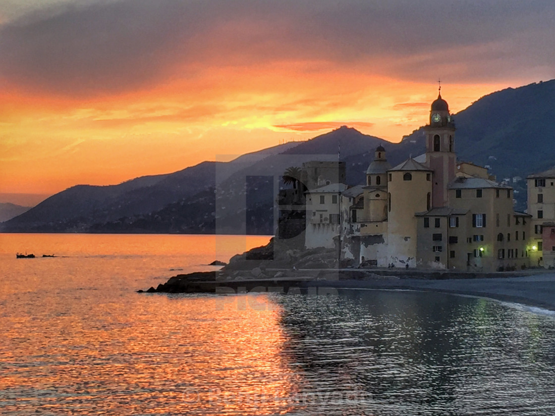 """Camogli sunset"" stock image"