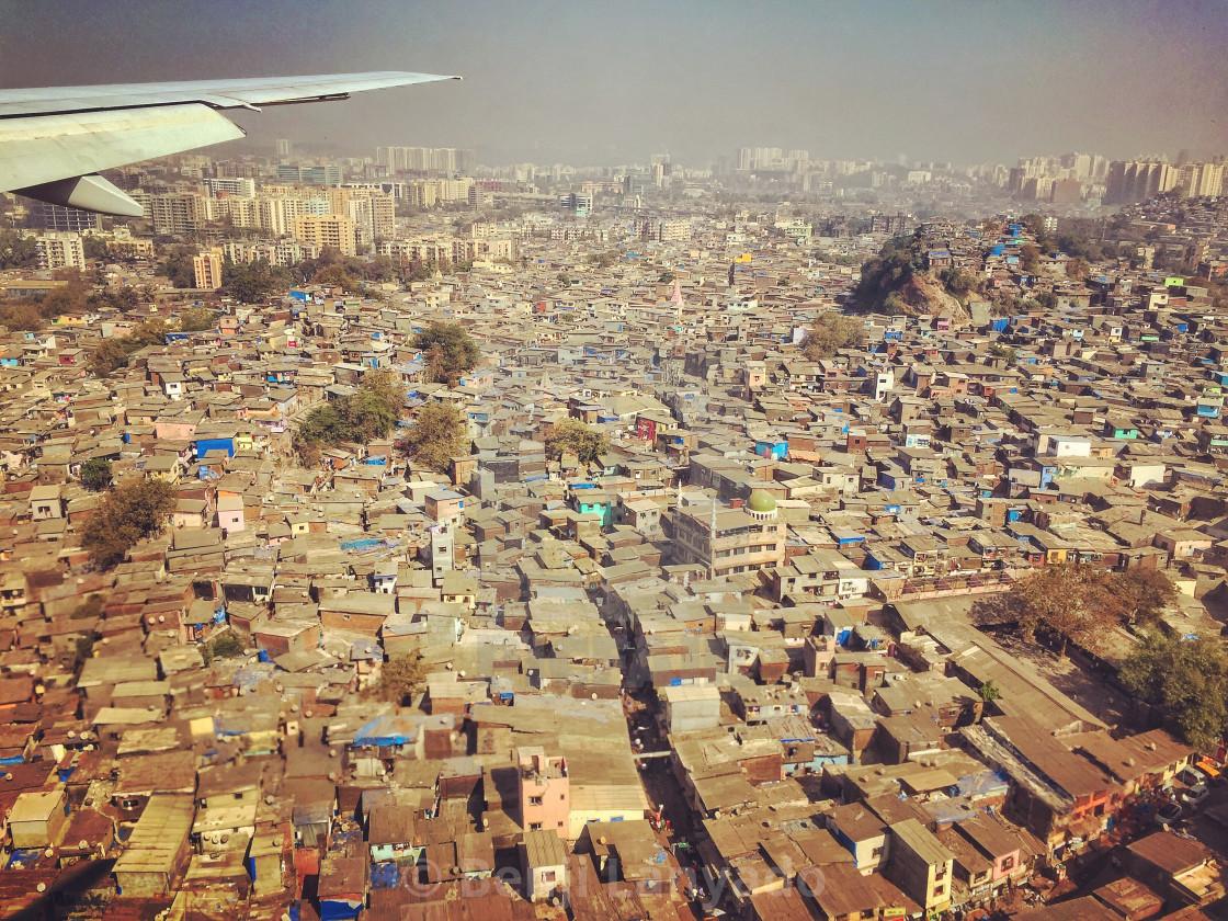 """Mumbai slums from the air"" stock image"