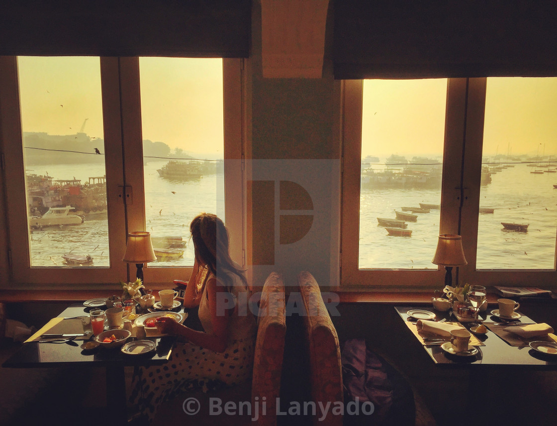 """Breakfast at the Taj Mahal Palace Hotel, Mumbai"" stock image"