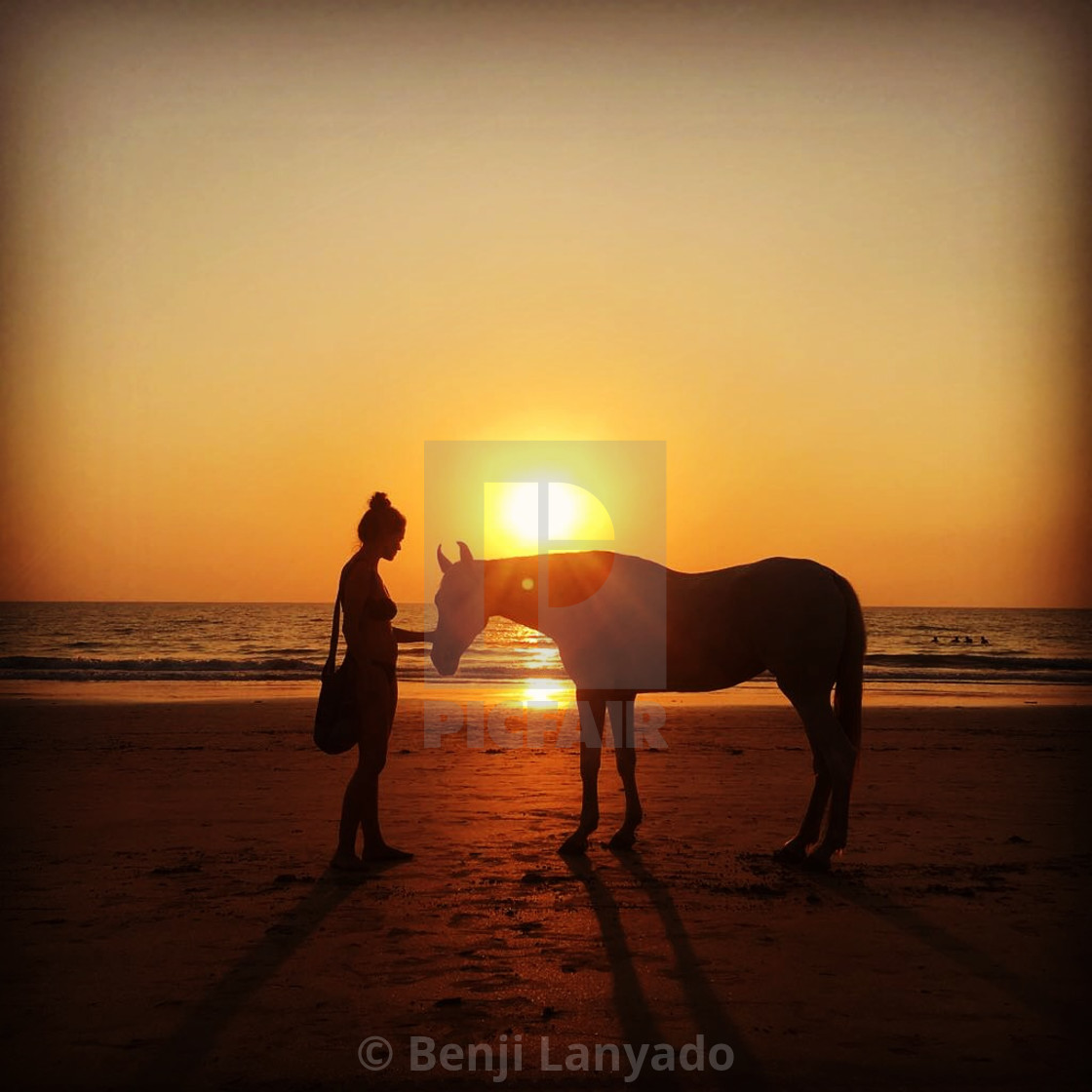 """Lady and horse on beach at sunset in Goa, India"" stock image"