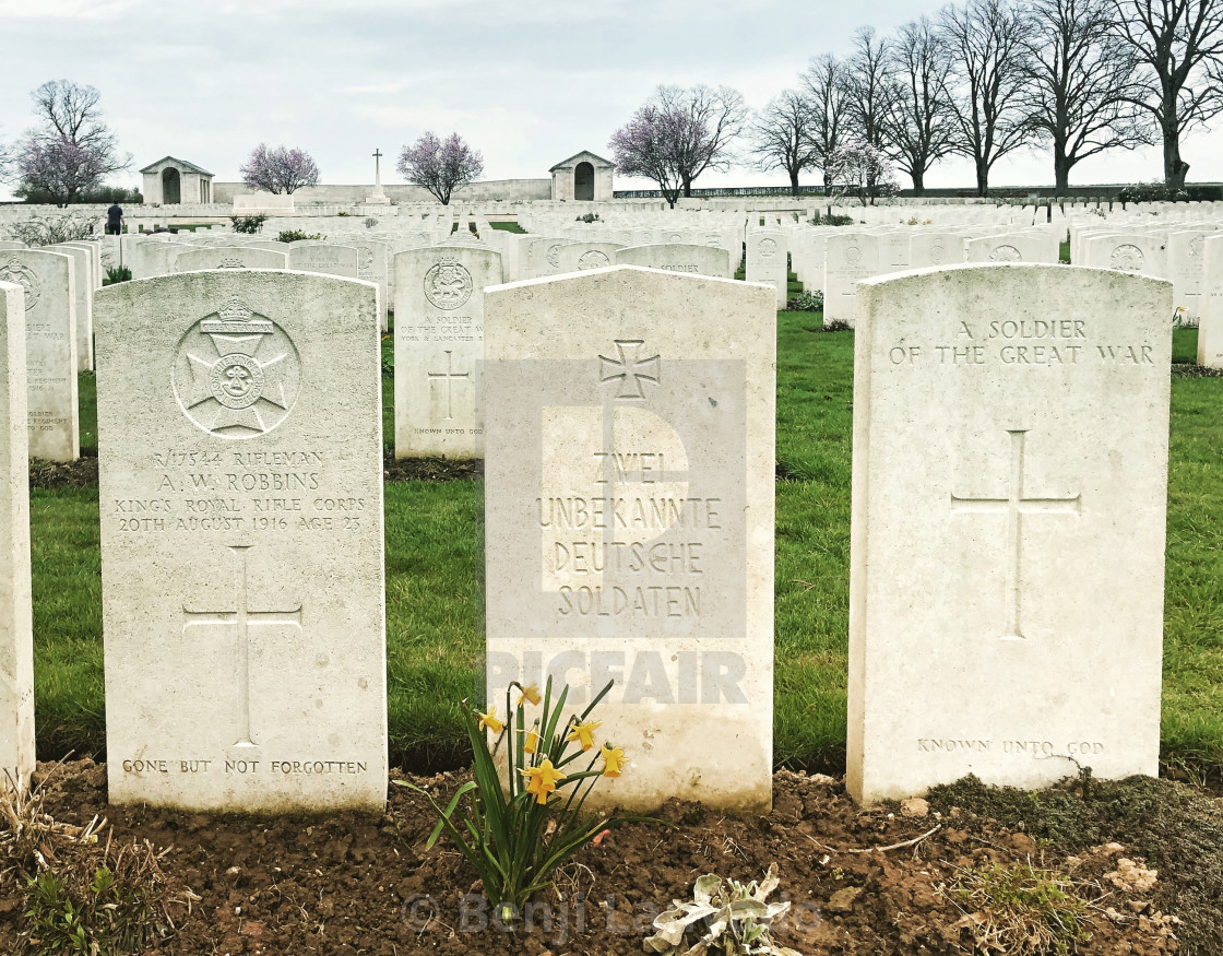 """British & German graves, Somme"" stock image"