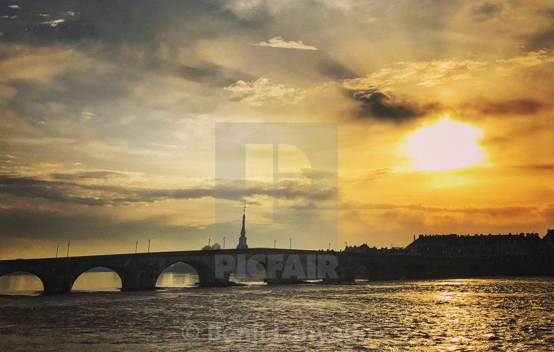 """Bridge over the Loire at Blois"" stock image"