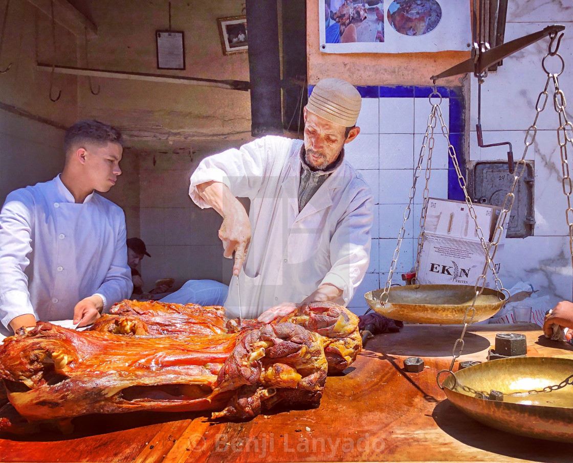 """Mutton trader, Mechoui Alley, Marrakech"" stock image"
