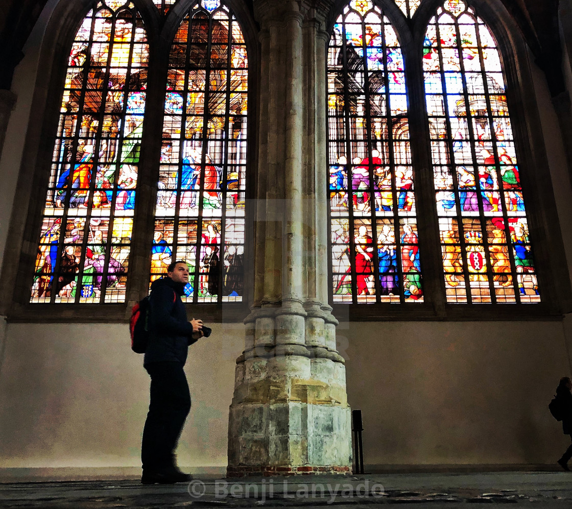 """Stained glass window, Oude Kerk, Amsterdam"" stock image"