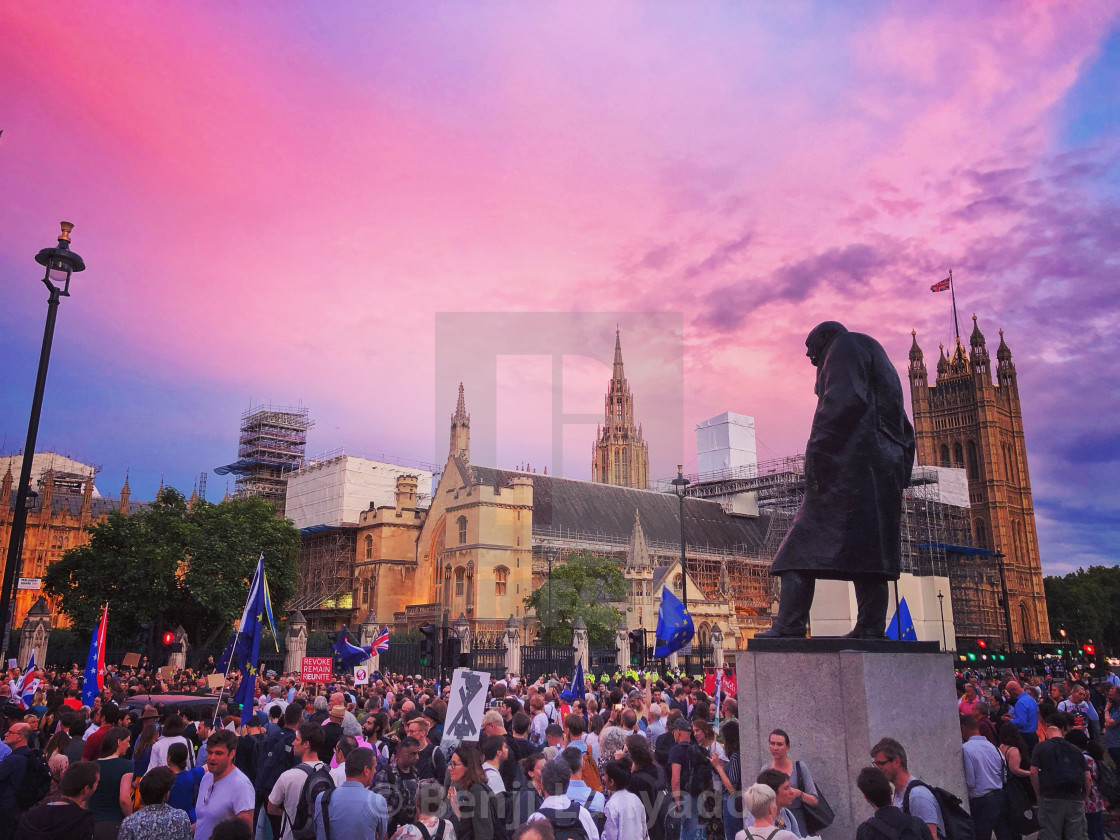 """Protest against Parliament prorogation in London"" stock image"