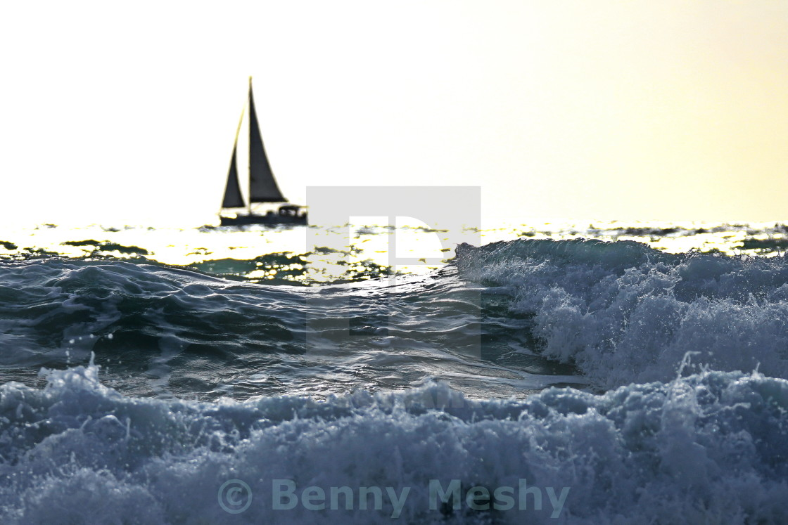 """A boat on the horizon"" stock image"