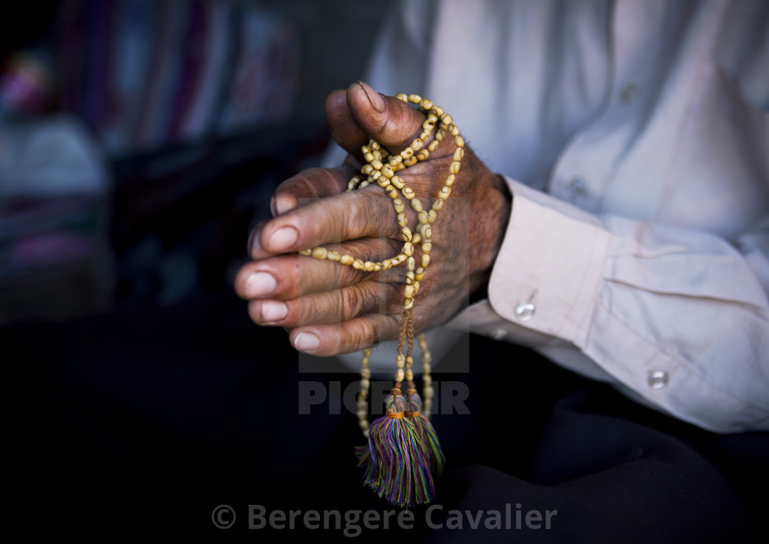 """Man Praying With A Prayer Beads, Erbil, Kurdistan, Iraq"" stock image"
