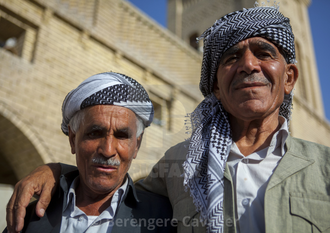 """Smiling Kurdish Men, Erbil, Kurdistan, Iraq"" stock image"
