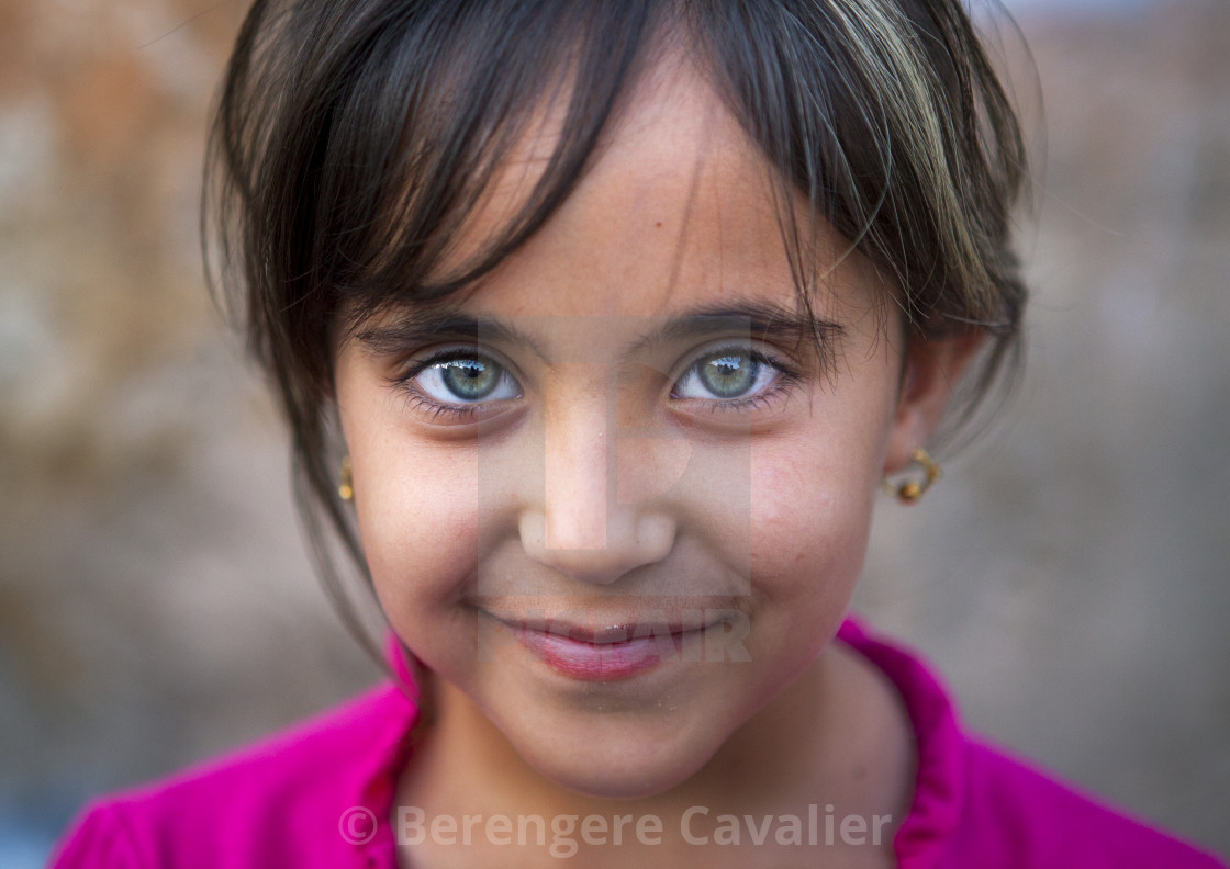 """Kurdish Girl With Green Eyes, Akre, Kurdistan, Iraq"" stock image"