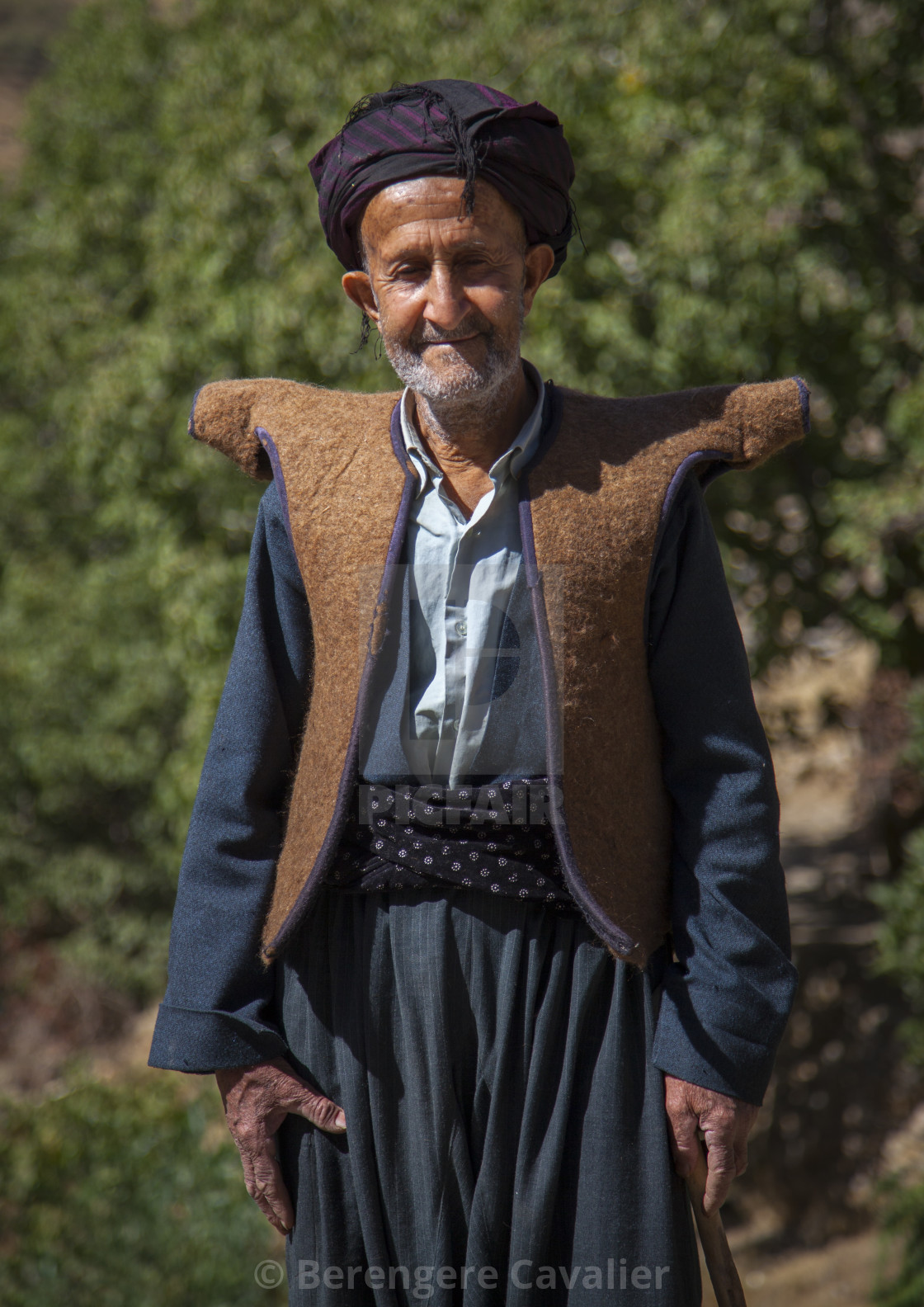 """Kurdish Old Man With Traditional Clothing, Howraman, Iran"" stock image"