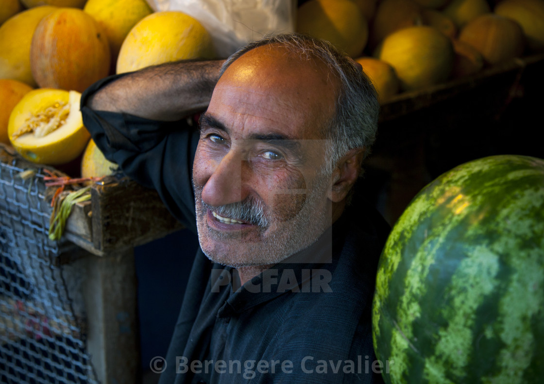 """Watermelons Seller In The Bazaar, Kermanshah, Iran"" stock image"