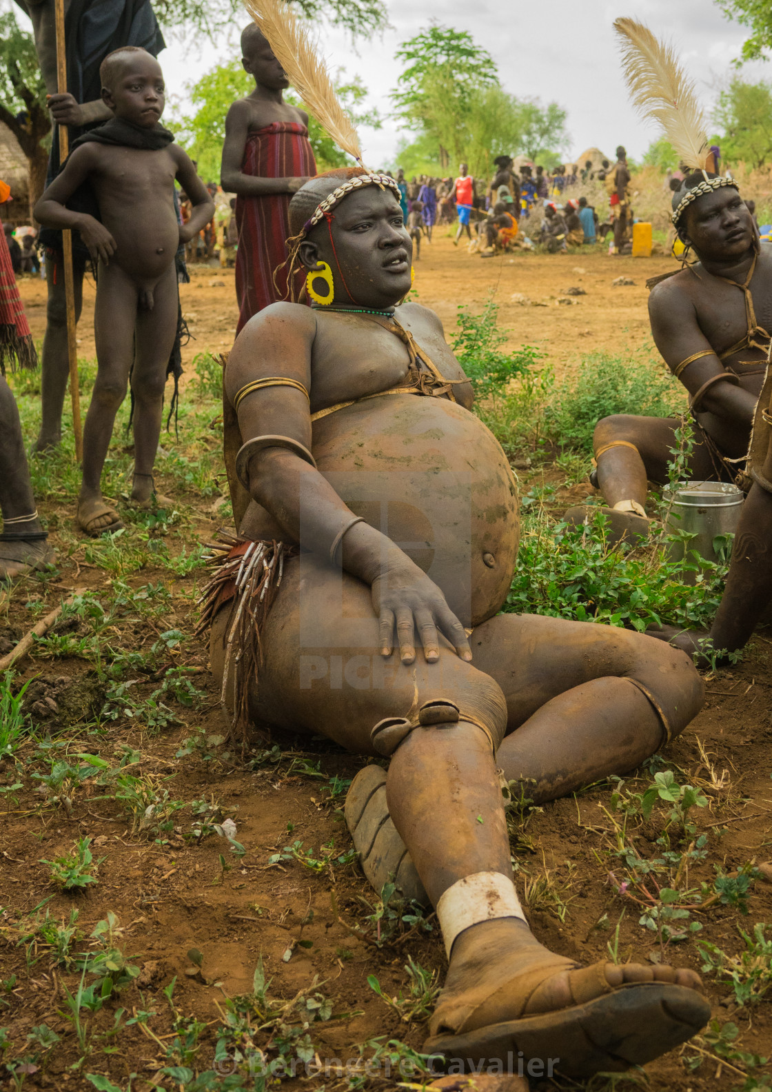 """Bodi tribe men celebrating Kael ceremony, Gurra, Hana Mursi, Omo Valley,..."" stock image"