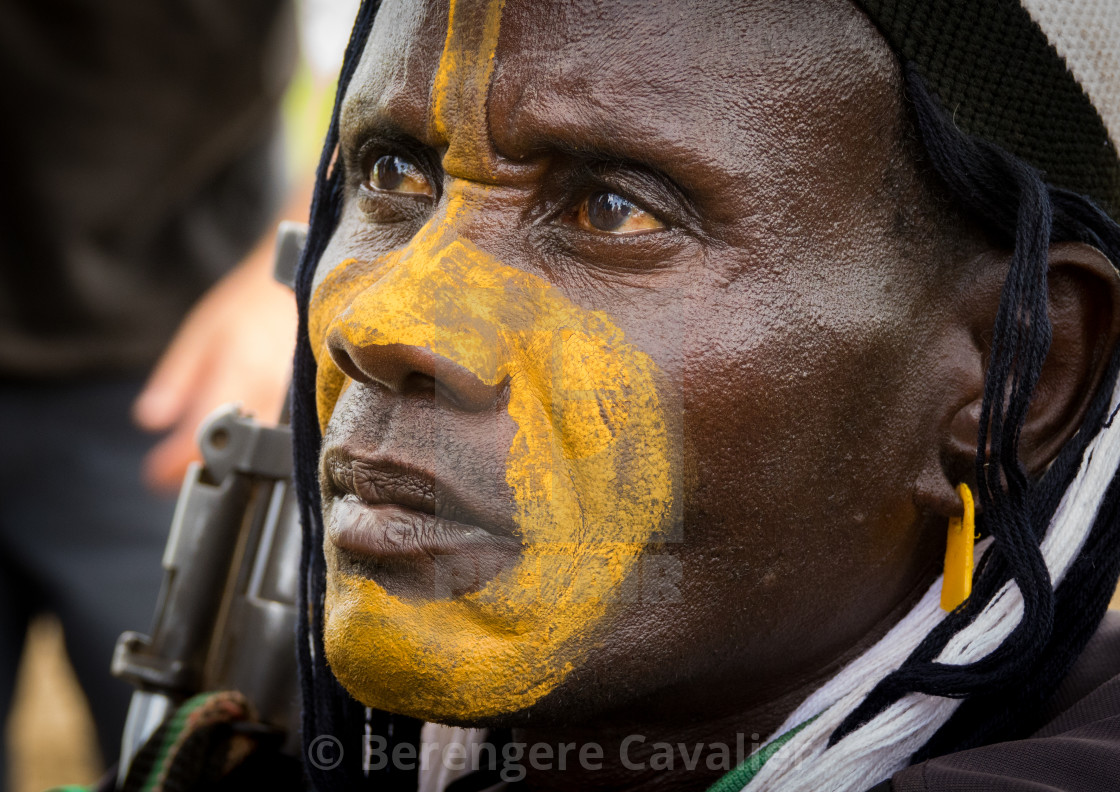 """Man with make up attending Kael, fat men ceremony at Bodi tribe, Gurra, Omo..."" stock image"