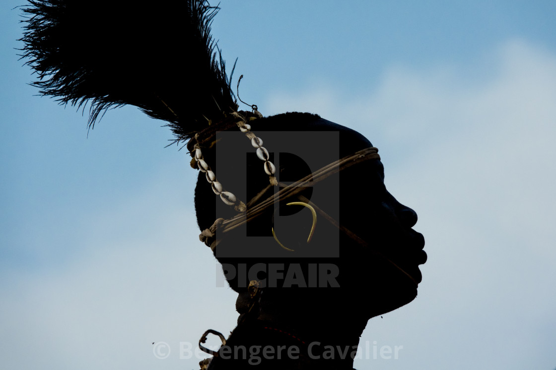 """Bodi tribe man celebrating Kael ceremony, Gurra, Hana Mursi, Omo Valley,..."" stock image"