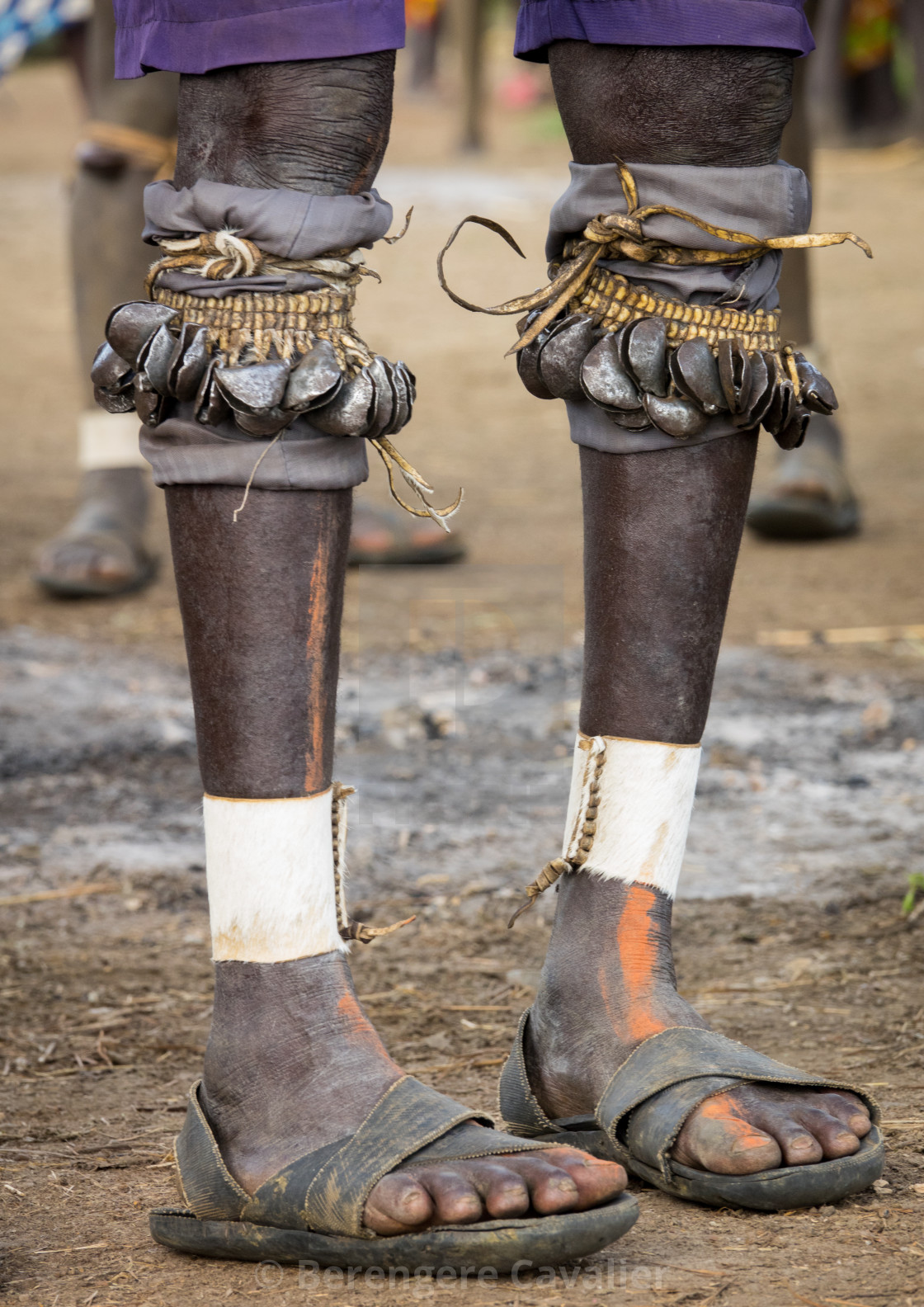 """Legs of a Bodi man attending Kael ceremony, Gurra, Hana Mursi, Omo Valley,..."" stock image"