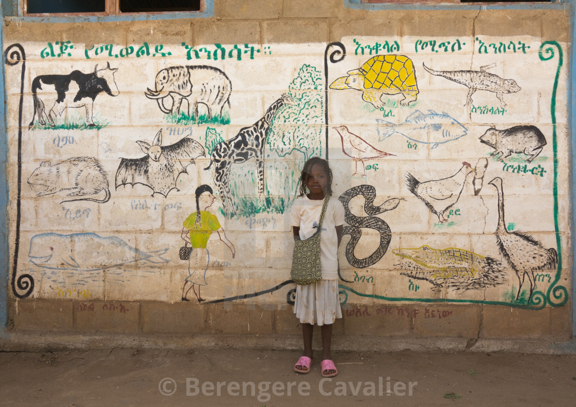 """Nyangatom tribe girl in front of a school wall depicting animals, Kangate,..."" stock image"