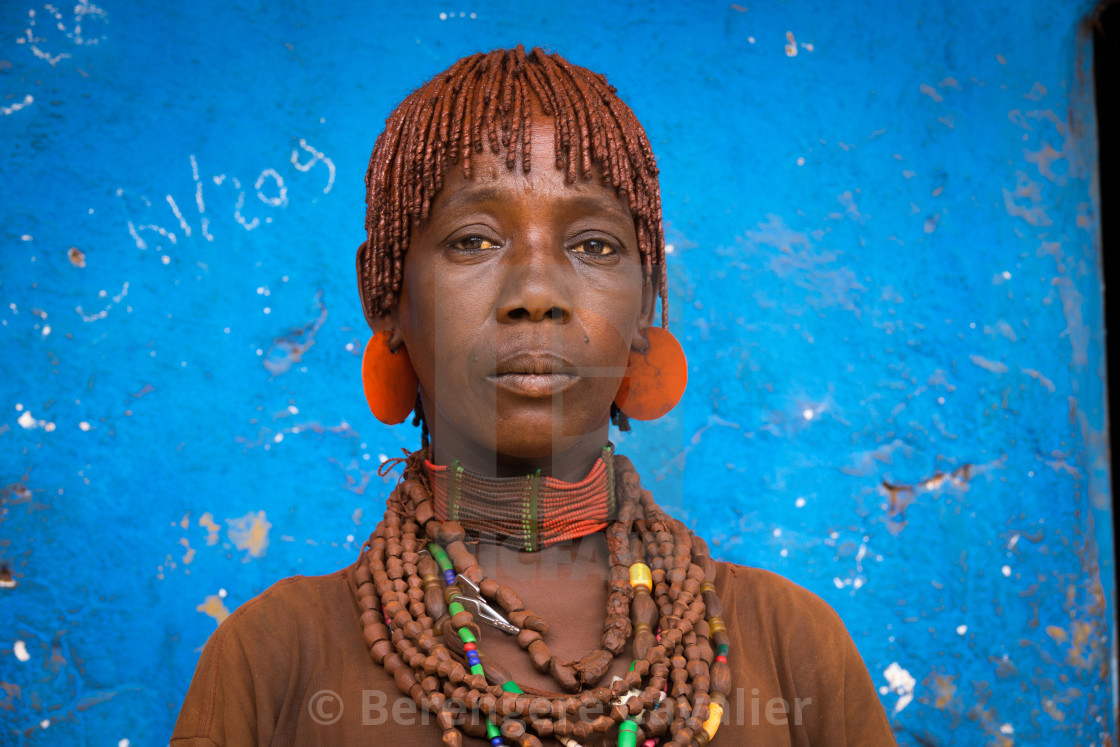 """Hamer tribe woman, Dimeka, Omo valley, Ethiopia"" stock image"