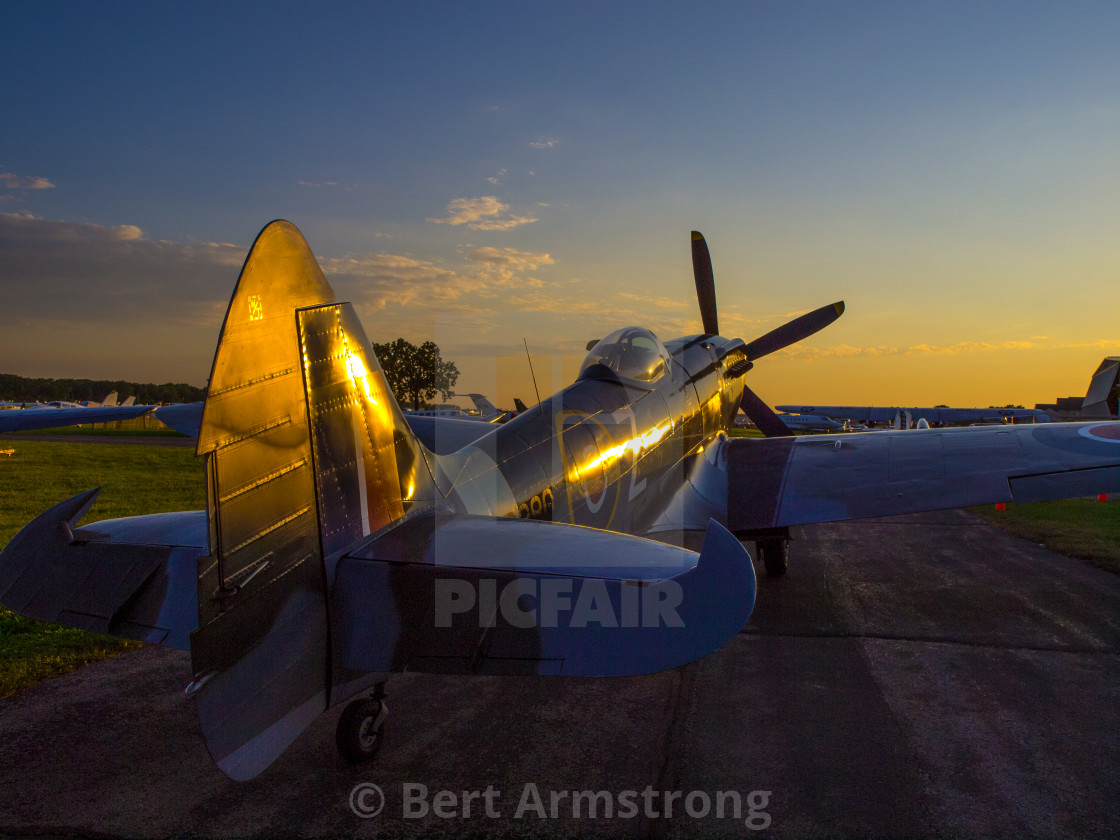 """Spitfire MK18 at Dusk"" stock image"