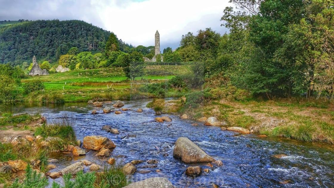 """""""Monastery, Glendalough, Ireland"""" stock image"""
