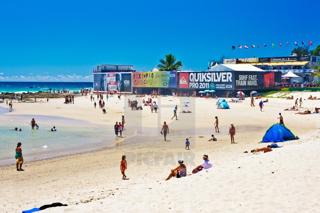 """Rainbow Beach WSL Quiksilver Pro prep #1"" stock image"