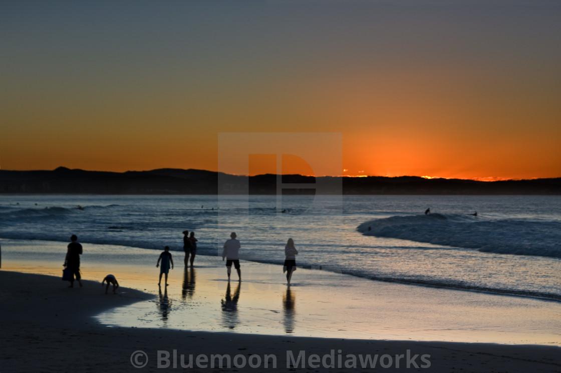 """Sundown at Rainbow Bay"" stock image"