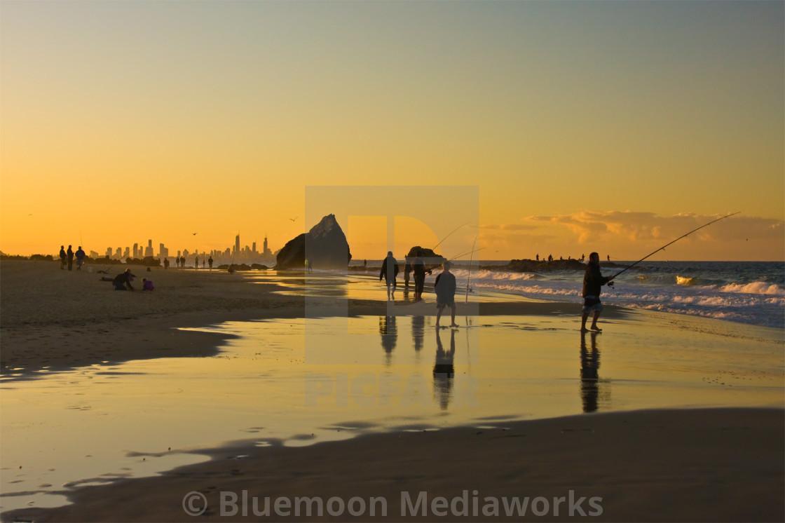"""Golden hour fishing"" stock image"