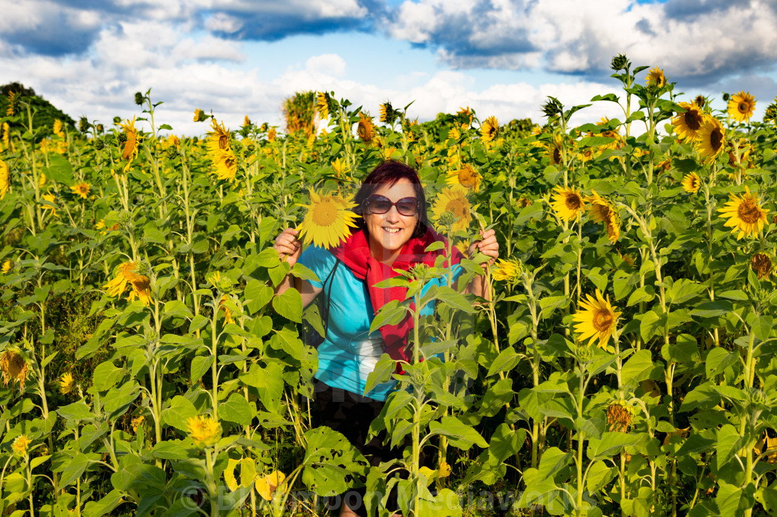 """Tiva the sunflower woman"" stock image"