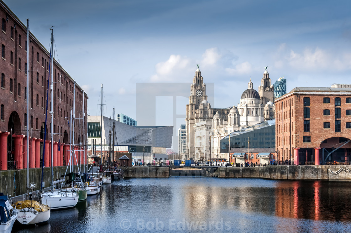 """Pier Head Liverpool from Albert Dock"" stock image"