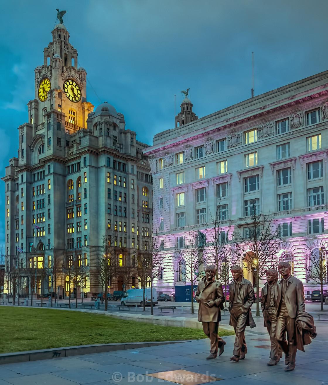 """Beatles Sculpture, Pier Head Liverpool"" stock image"