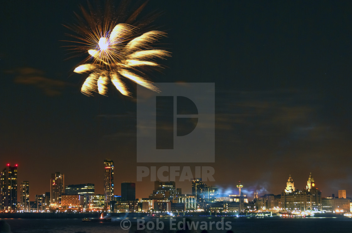 """""""Fireworks on the Liverpool Waterfront"""" stock image"""
