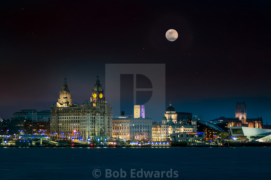 """Liverpool Waterfront under a Wolf Moon"" stock image"