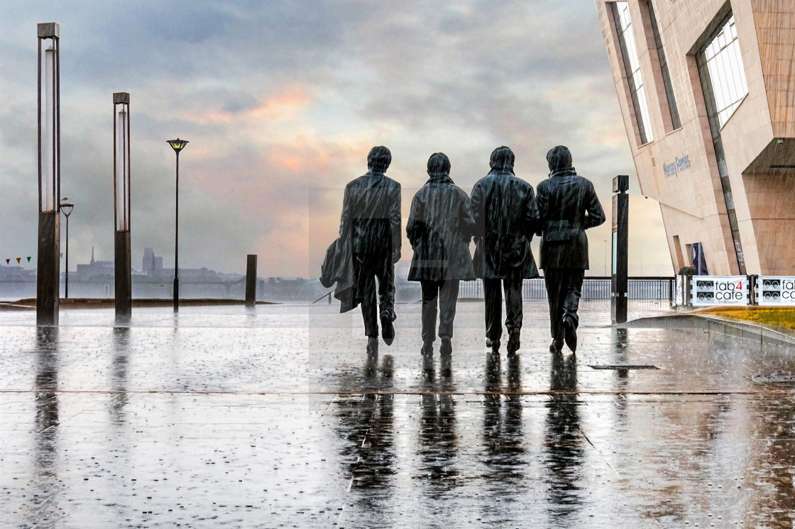 """The Beatles Sculpture at Liverpool's Pier Head"" stock image"