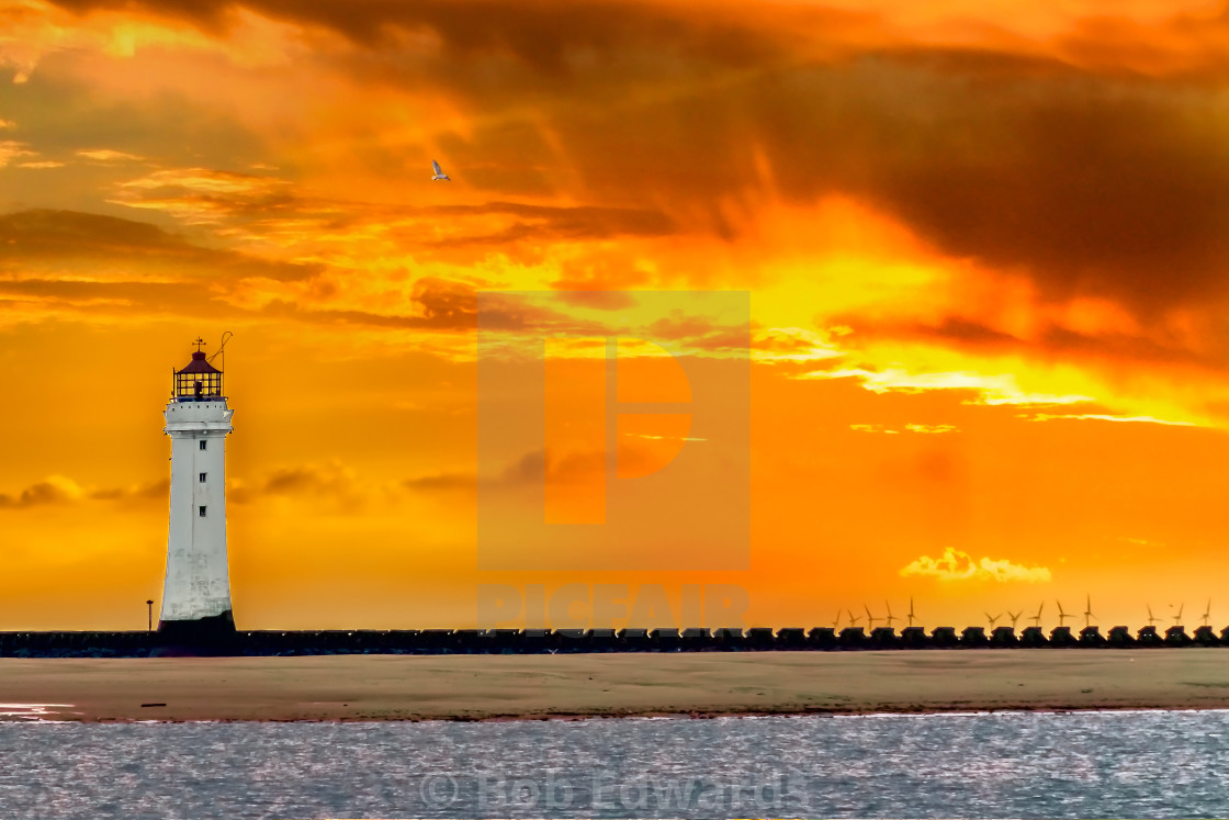 """""""Lighthouse at New Brighton at Sunset"""" stock image"""