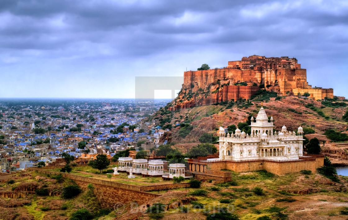 """Mehrangharh Fort and Jaswant Thada mausoleum in Jodhpur, Rajasthan, India"" stock image"