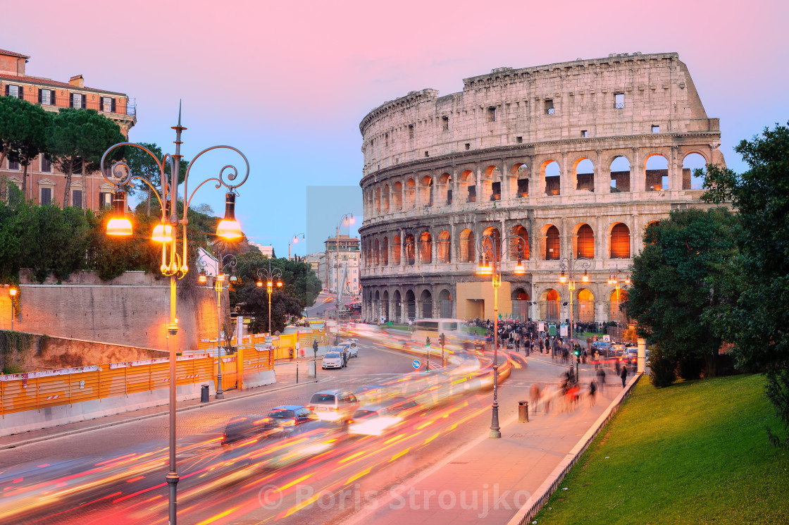 """""""Colosseum, Rome, Italy, on sunset"""" stock image"""