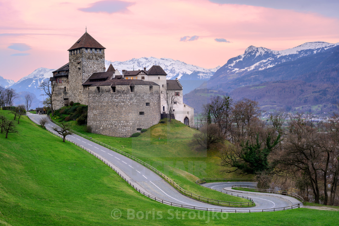 """Vaduz Castle, the official residence of the Prince of Liechtenstein"" stock image"