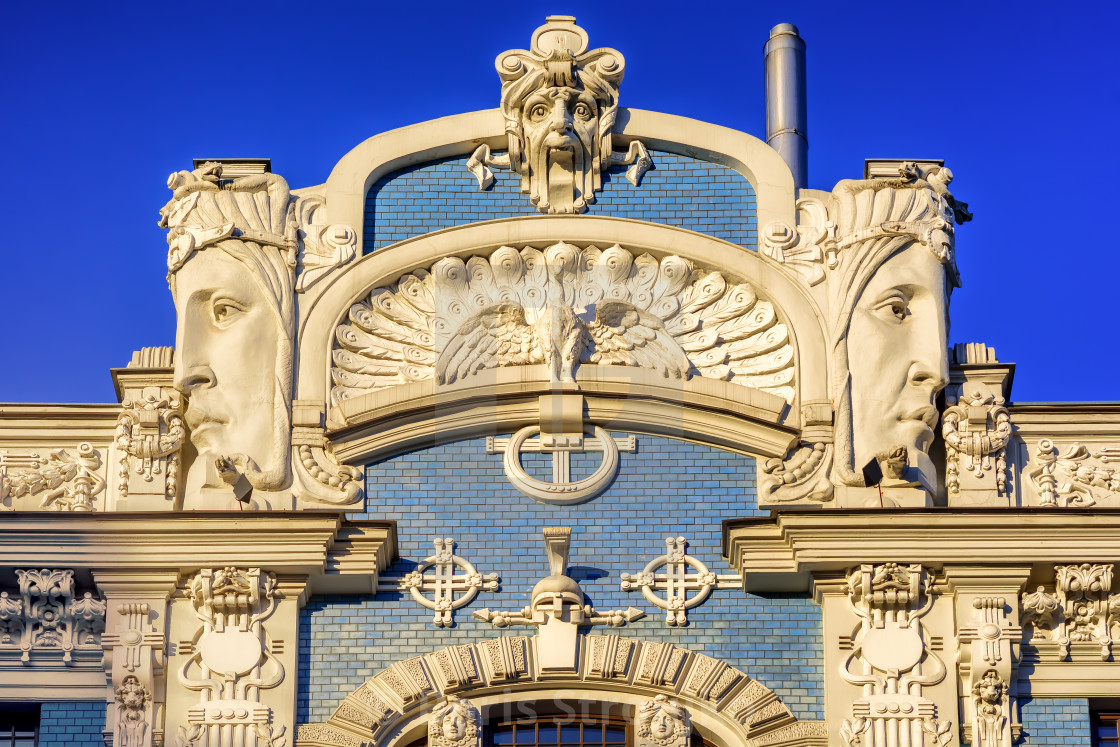 art nouveau building detail riga latvia license for 12 40 on