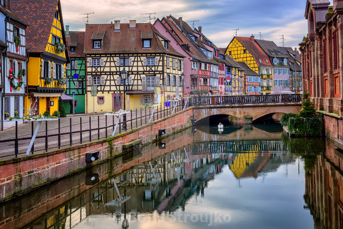 """Colorful half-timbered facades in medieval town Colmar, Alsace, France"" stock image"