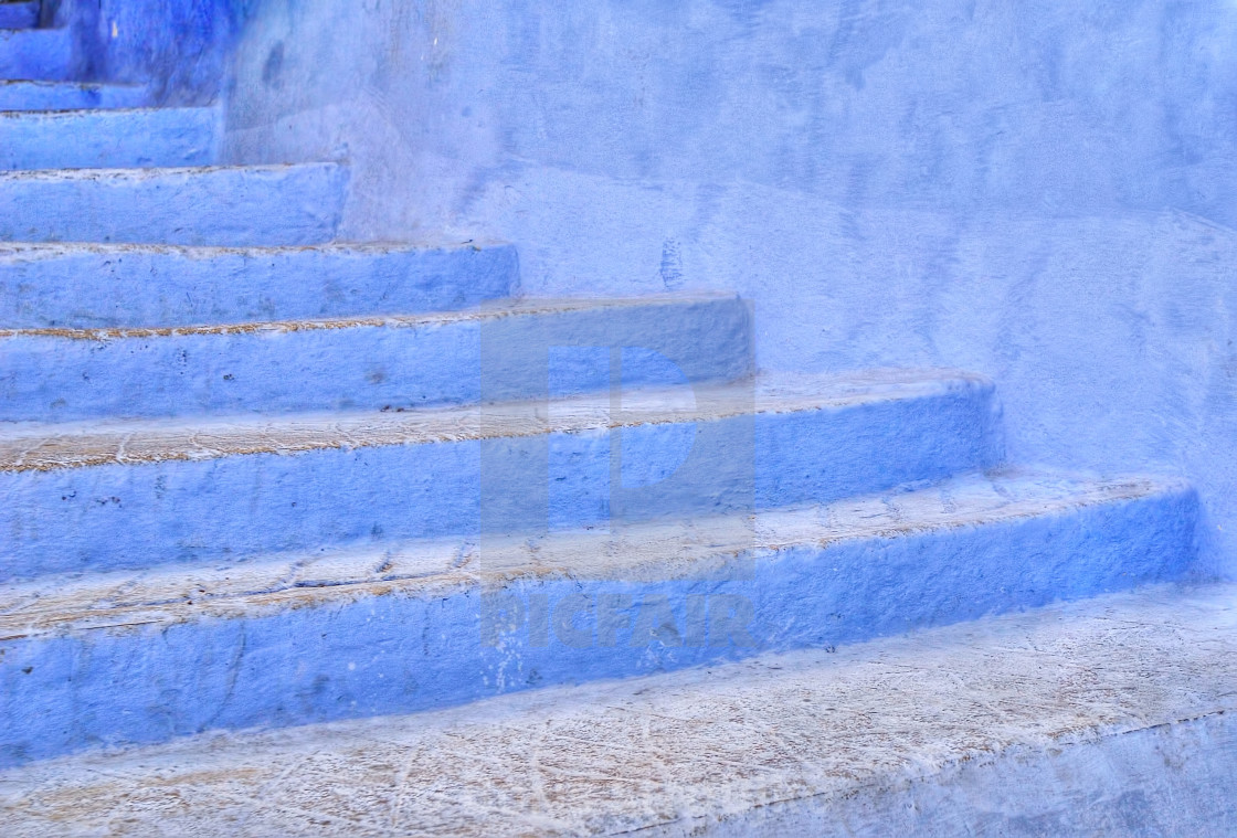 """Blue stairs in Chefchaouen, Morocco"" stock image"