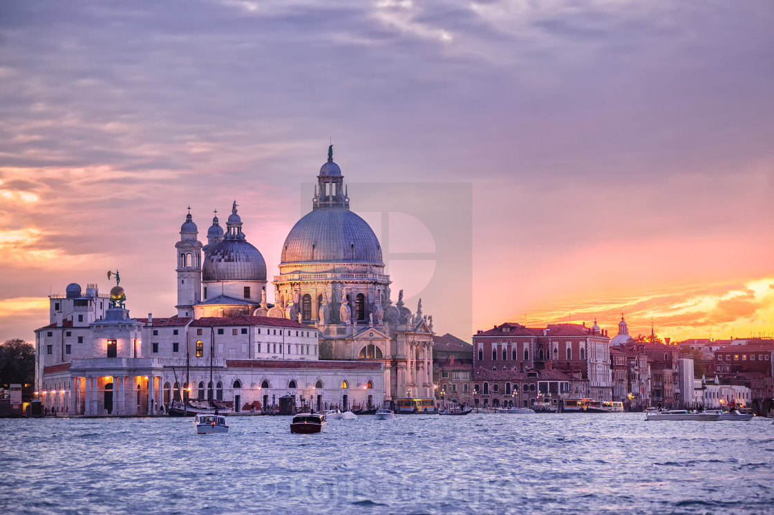"""Santa Maria della Salute church on sunset, Venice, Italy"" stock image"