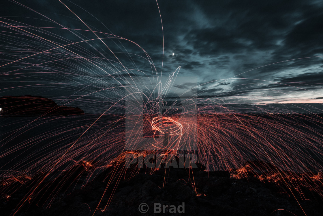 """Wire wool spinning!"" stock image"