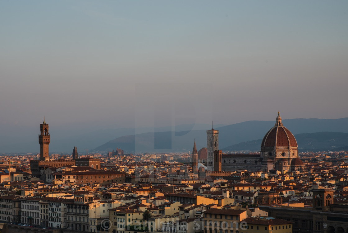 """View of the city of Florence early in the morning."" stock image"